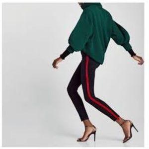 Zara grey ripped jeans with red velvet stripe